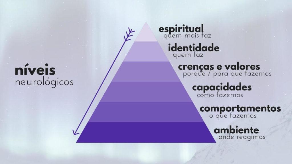 Pirâmide dos 6 níveis neurológicos da PNL: Espiritual, Identidade, Crenças,   Capacidades, Comportamento e  Ambiente.